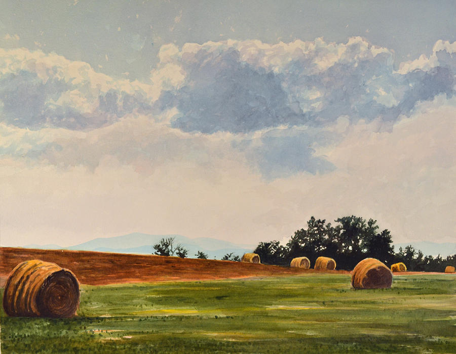 Field Painting - Rolled Bales by Thomas Stratton