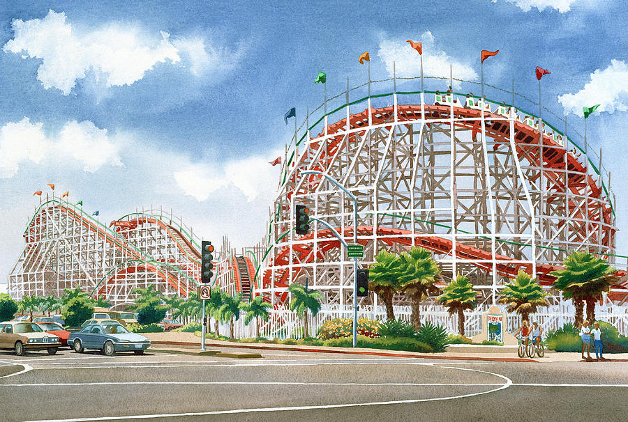 Mission Beach Painting - Roller Coaster Mission Beach by Mary Helmreich
