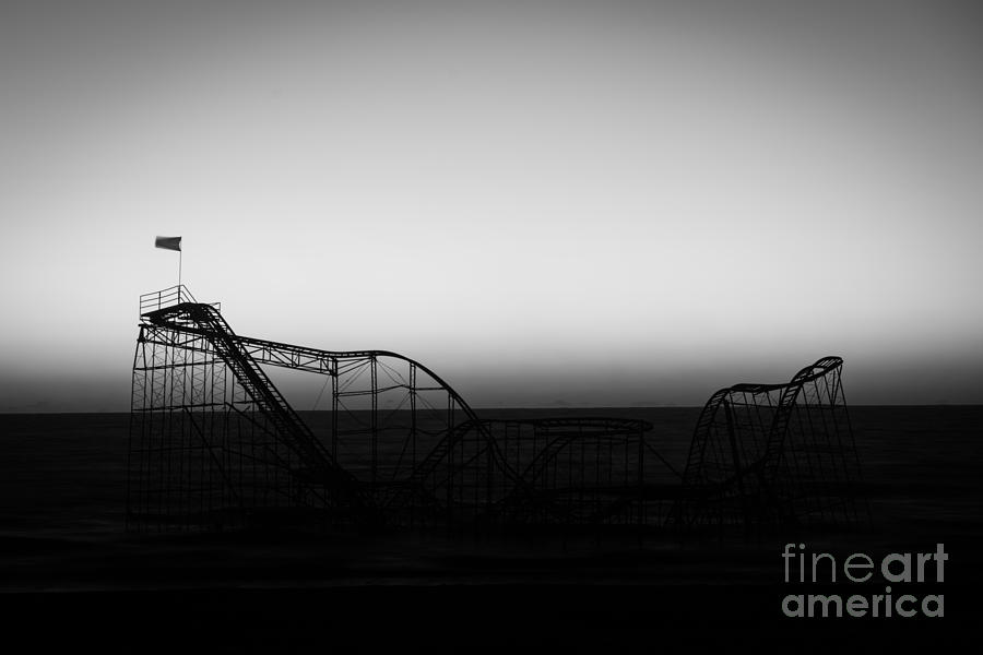 Nikon D800 Photograph - Roller Coaster Silhouette Black And White by Michael Ver Sprill