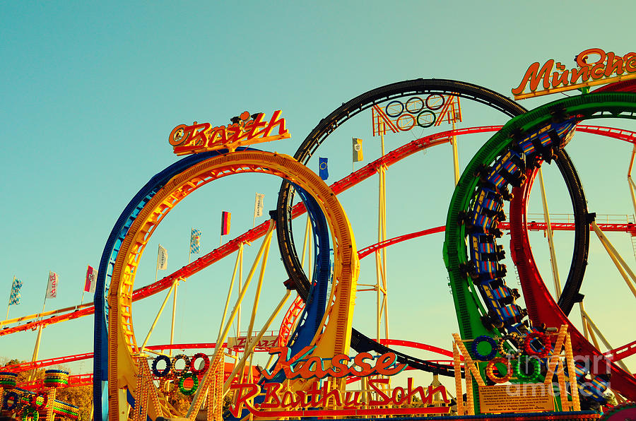 Rollercoaster At The Octoberfest In Munich Photograph by Sabine Jacobs