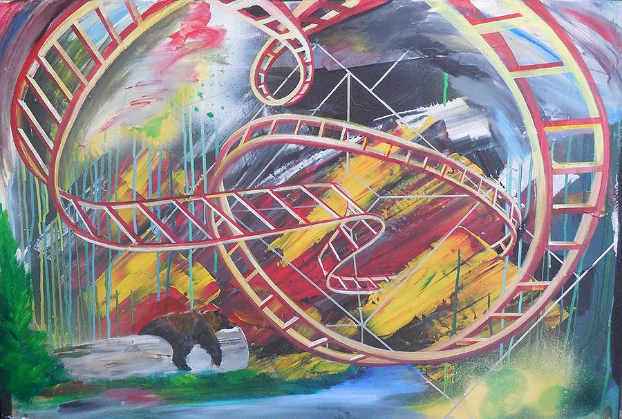 rollercoaster bear painting by toblerussebear painting rollercoaster bear by toblerusse