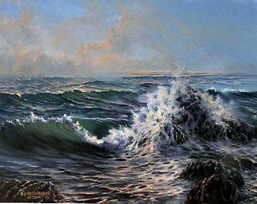 Seascape Painting - Rolling In by Lynne Wright