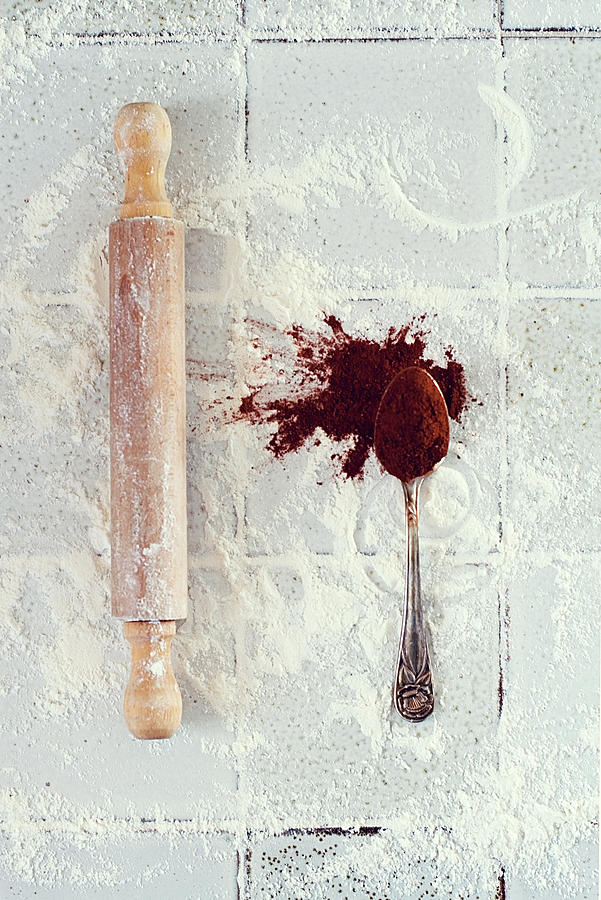 Rolling Pin, Teaspoon, Flour And Cocoa Photograph by One Girl In The Kitchen