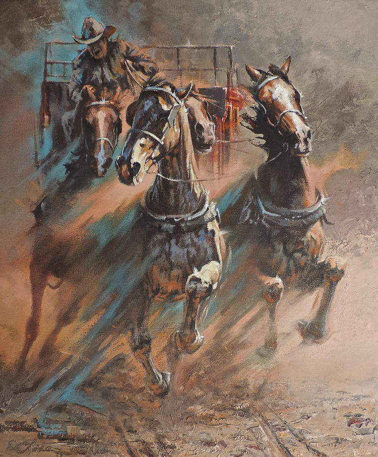Horses Painting - Rolling Thunder by Mia DeLode