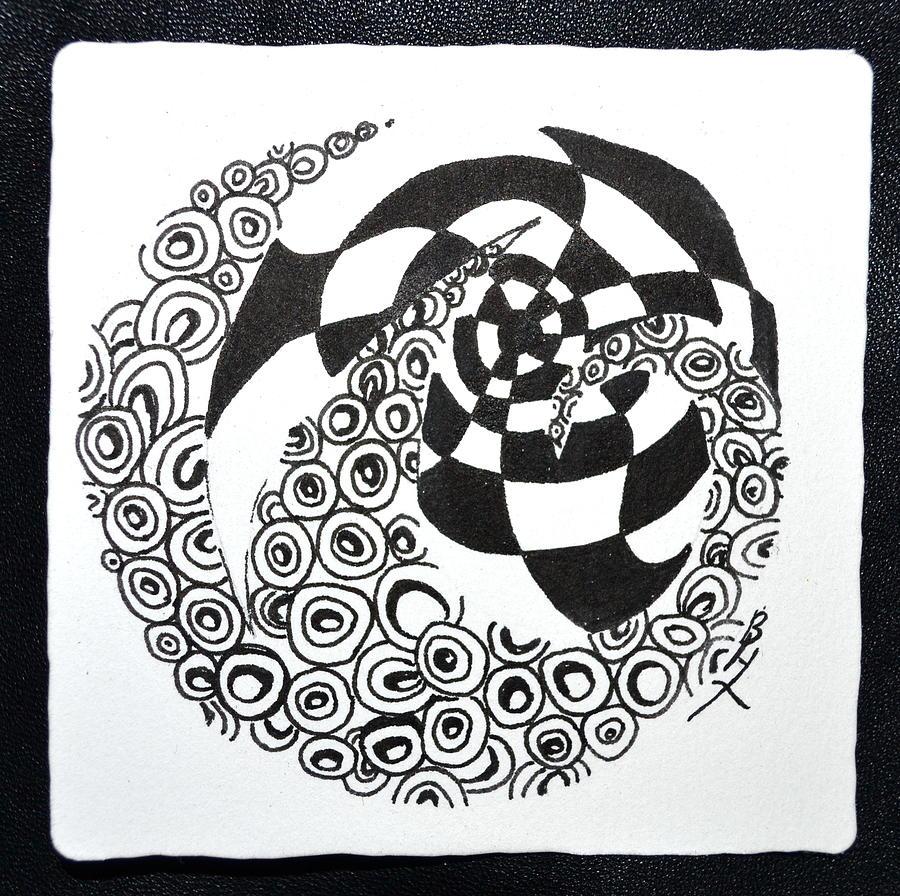 Zentangle Drawing - Rolling Zen by Beverley Harper Tinsley