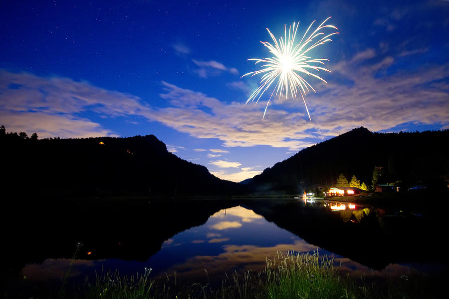 Fireworks; Firework; Reflections; Sky; Blue; Water; Cabin; Rustic; Rural; Rocky Mountains; Colorado Nature; Colorado Landscapes; Fine Art; Colorado Nature Landscape; James Bo Insogna; Photography Prints; Decorative; Decoration; Corporate Art; Gifts; For Sale;  Photograph - Rollinsville Yacht Club Fireworks Private Show 52 by James BO  Insogna