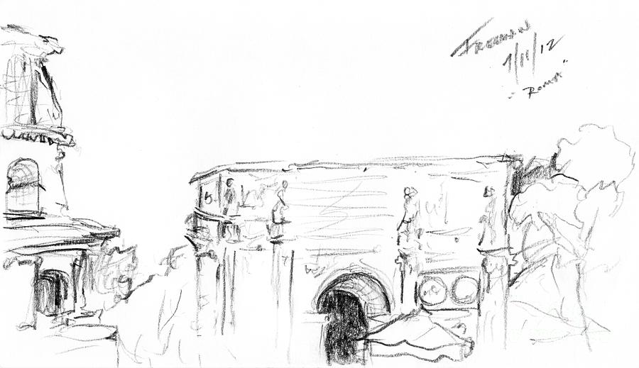 Crystal Cruises Drawing - Roma Italia by Valerie Freeman