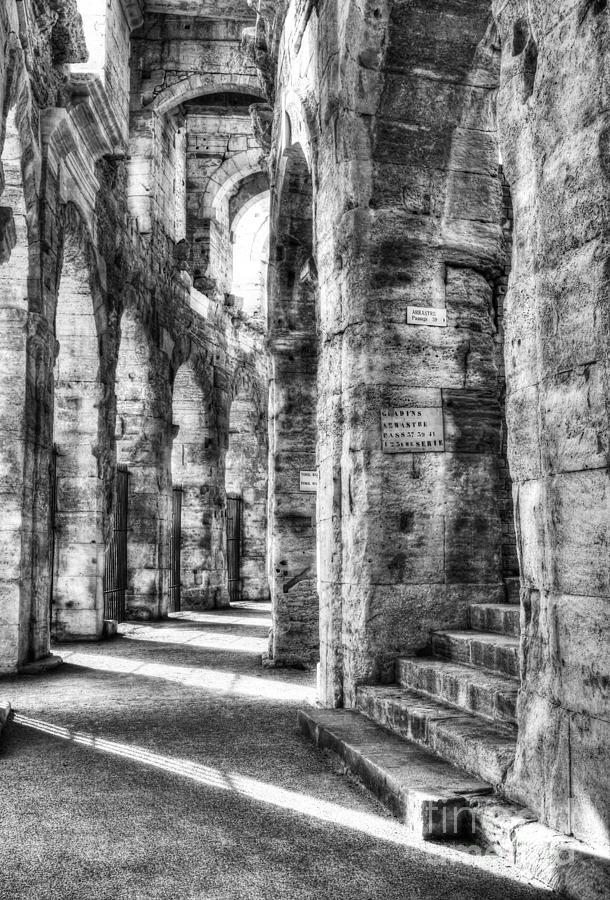 Arles France Photograph - Roman Arena At Arles Bw by Mel Steinhauer
