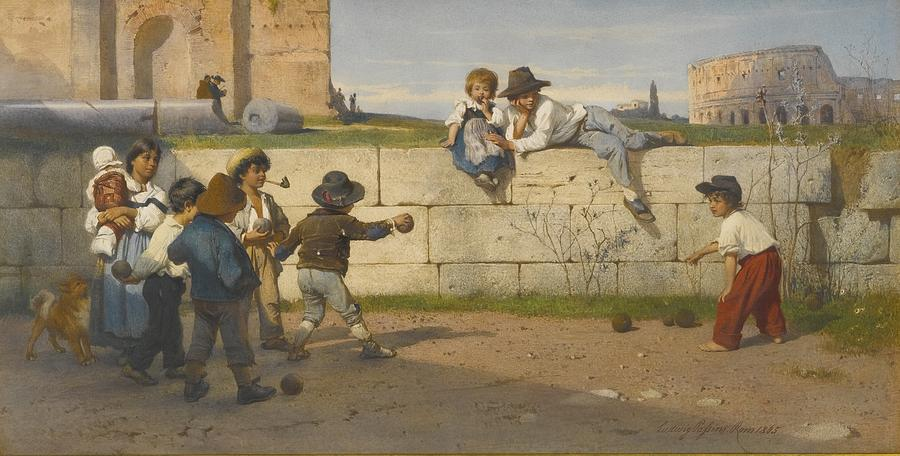Roman children at play painting by celestial images for Paintings of toddlers