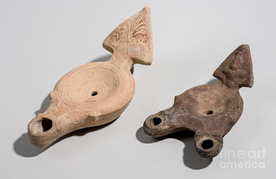 Oil Lamp Photograph - Roman Terracotta Oil Lamps by Ilan Amihai