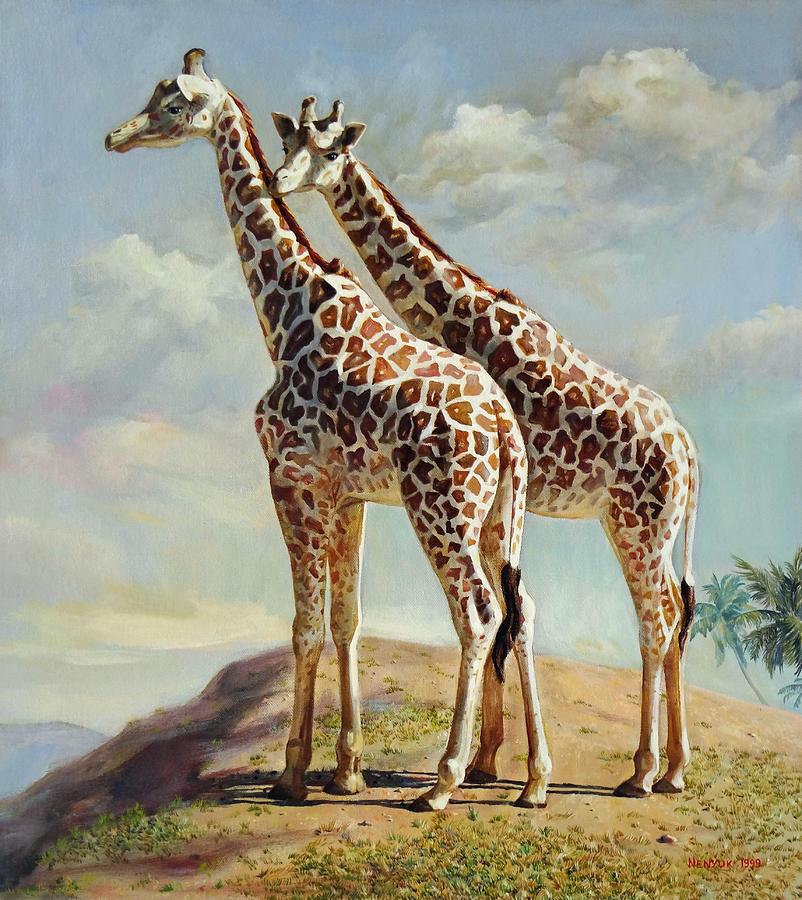 Giraffe Painting - Romance In Africa - Love Among Giraffes by Svitozar Nenyuk