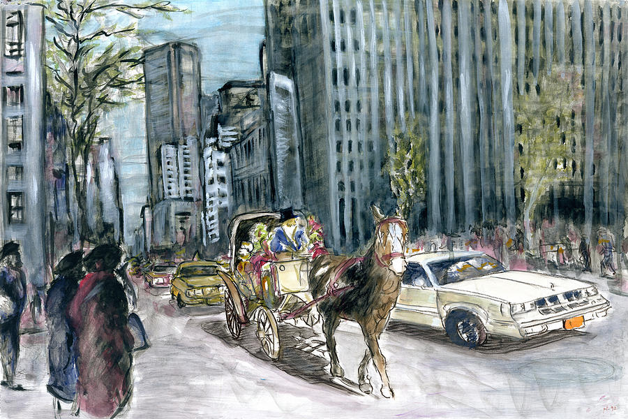 New York 5th Avenue Ride - Fine Art Painting by Peter Potter