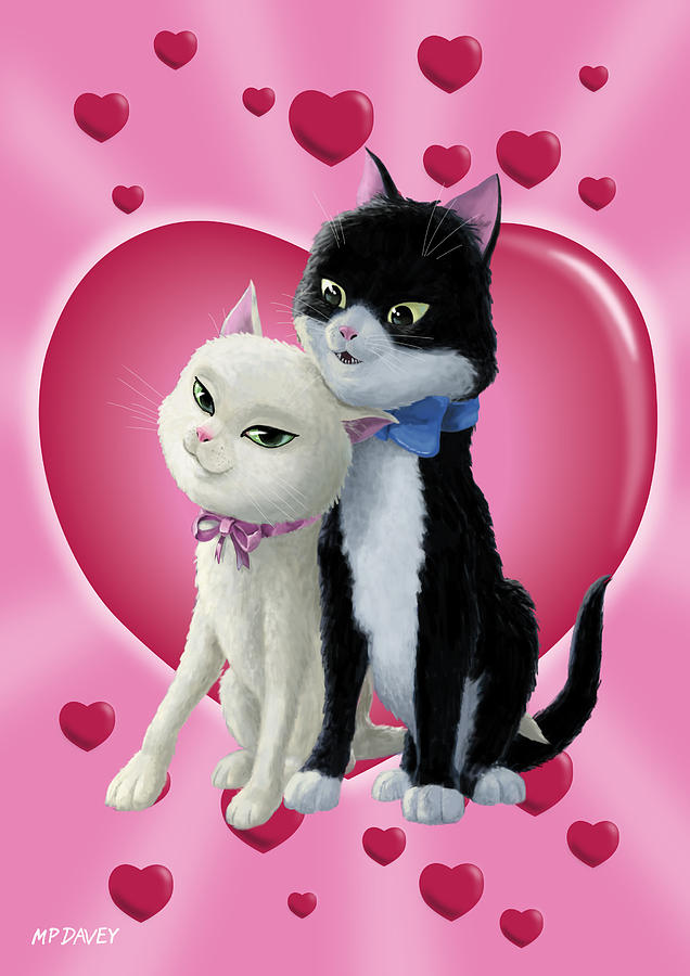 Romantic Cartoon Cats On Valentine Heart Digital Art By Martin Davey