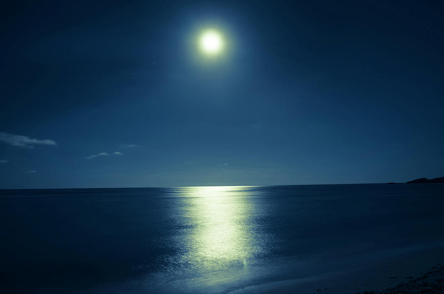 Romantic Moonlit Night Over Ocean Photograph by Jaminwell