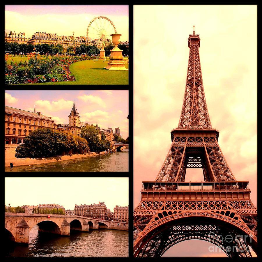 Paris Photograph - Romantic Paris Sunset Collage by Carol Groenen