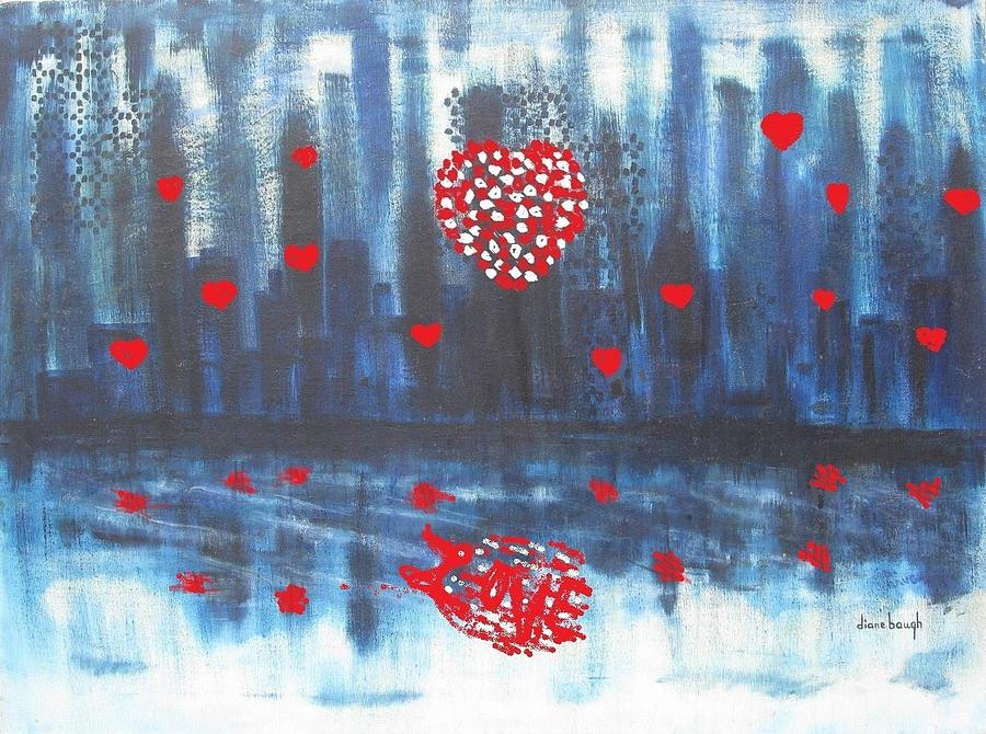 I Love You Painting - Romantic Reflection by Diane Pape