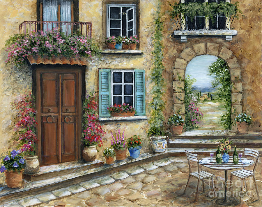 Wine Painting - Romantic Tuscan Courtyard by Marilyn Dunlap