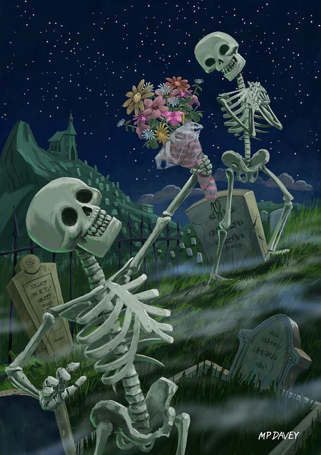 Skeletons Painting - Romantic Valentine Skeletons In Graveyard by Martin Davey