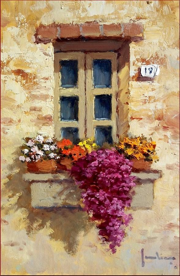 romantic window with flowers painting by ernesto scudiero. Black Bedroom Furniture Sets. Home Design Ideas