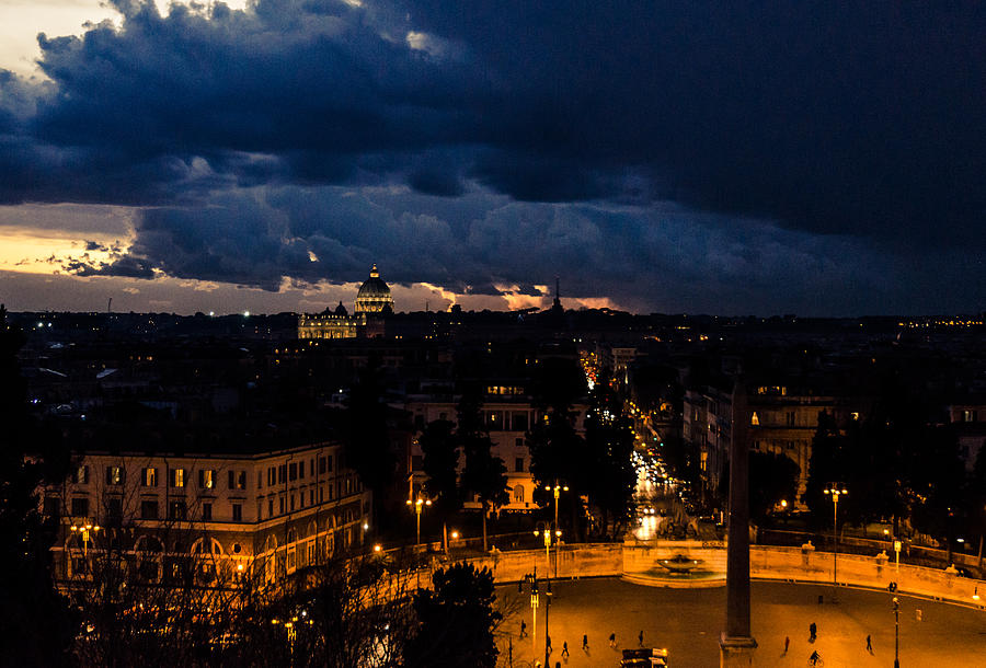 Cityscape Photograph - Rome Cityscape At Night  by AM FineArtPrints