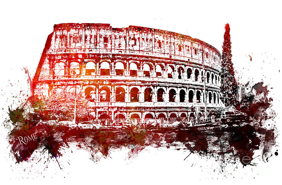 Rome Digital Art - Rome Colosseum by Justyna Jaszke JBJart