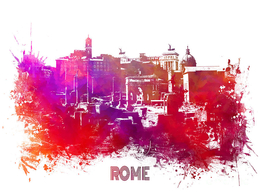 Rome Digital Art - Rome skyline by Justyna Jaszke JBJart
