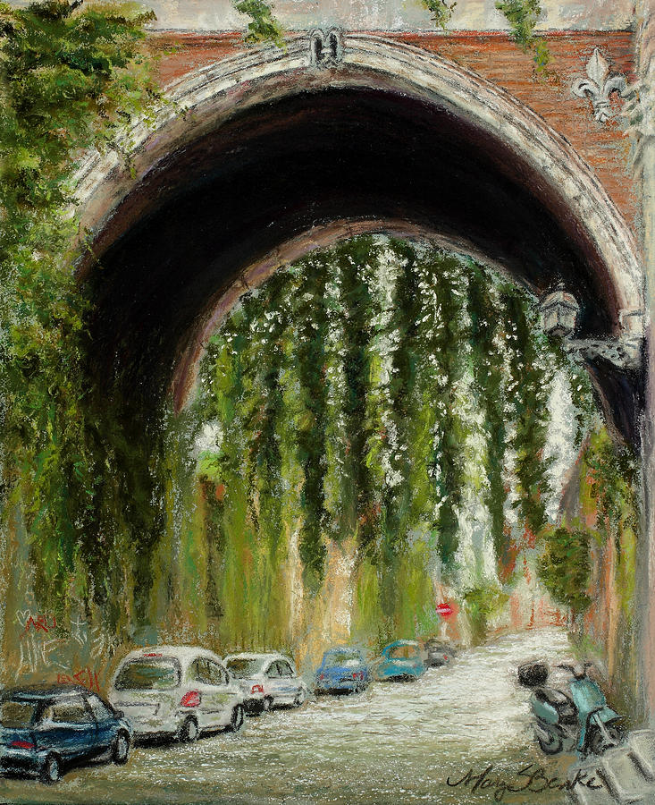 Pastel Painting - Rome Street Scene by Mary Benke