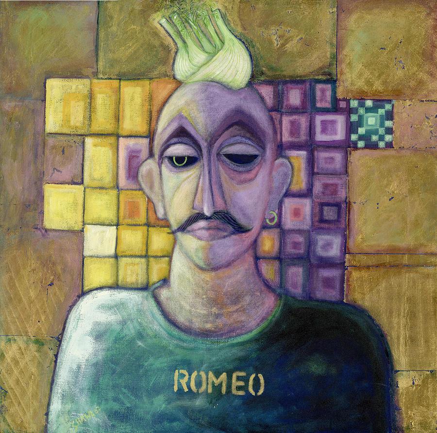 Male Photograph - Romeo, 1970 Acrylic & Metal Leaf On Canvas by Laila Shawa