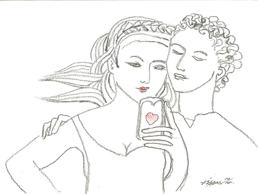 Romeo And Juliet Drawing - Romeo And Juliet Selfie by Kippax Williams
