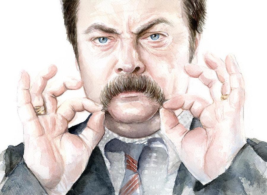 Ron Painting - Ron Swanson Mustache Portrait by Olga Shvartsur