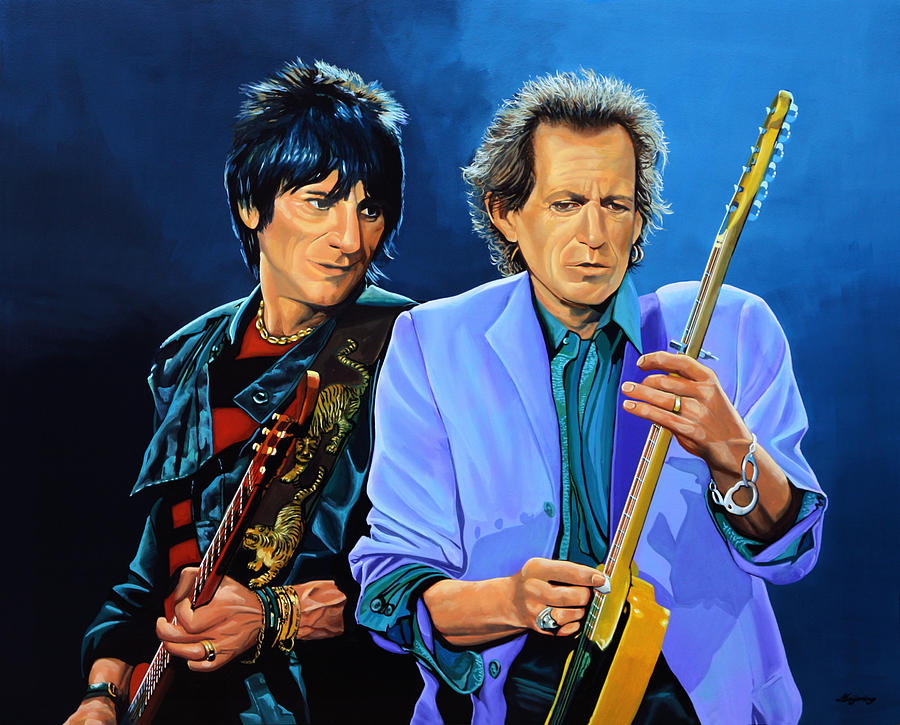 The Rolling Stones Painting - Ron Wood And Keith Richards by Paul Meijering