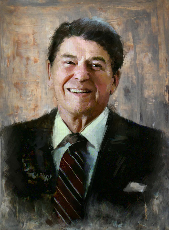 Rancho Del Cielo Painting - Ronald Reagan Portrait 7 by Corporate Art Task Force