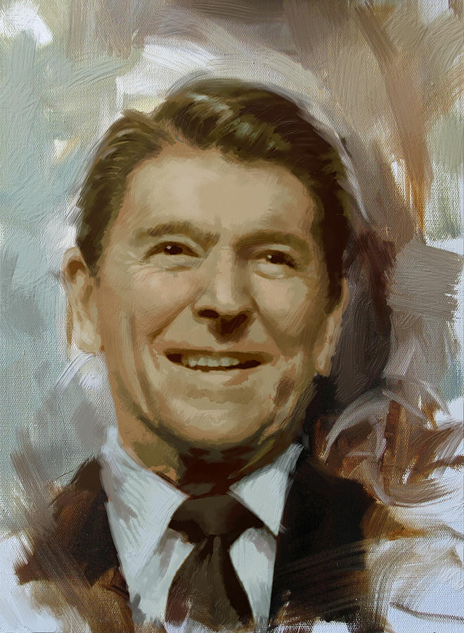 Rancho Del Cielo Painting - Ronald Reagan Portrait by Corporate Art Task Force