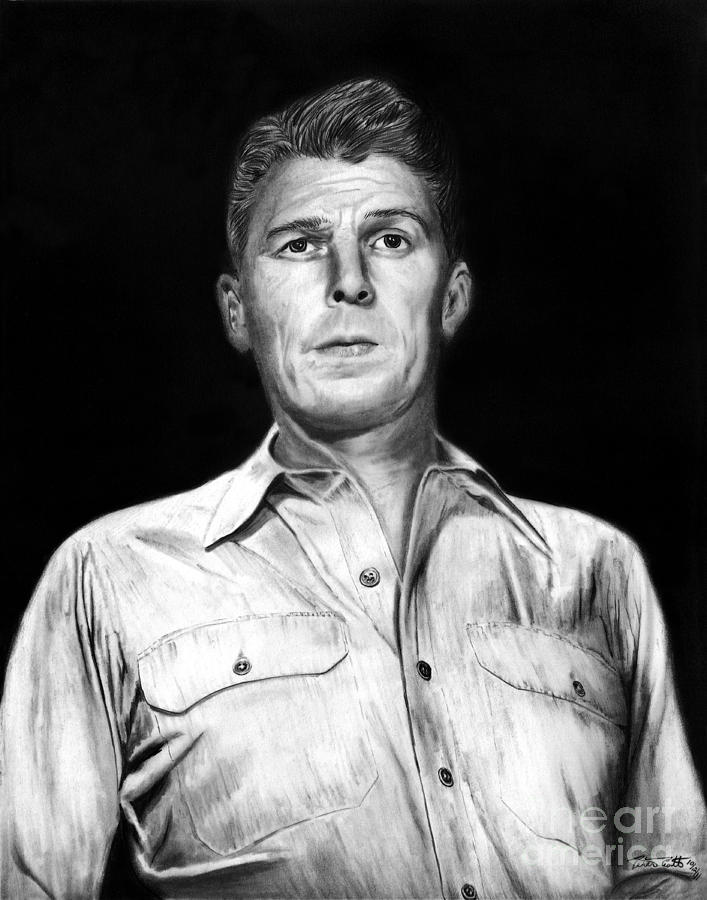 Ronald Regan Drawing - Ronald Regan by Peter Piatt