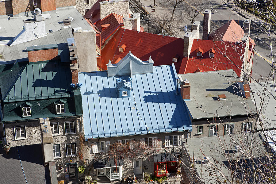 Roof Photograph - Roofs Of Quebec by Gordon  Grimwade