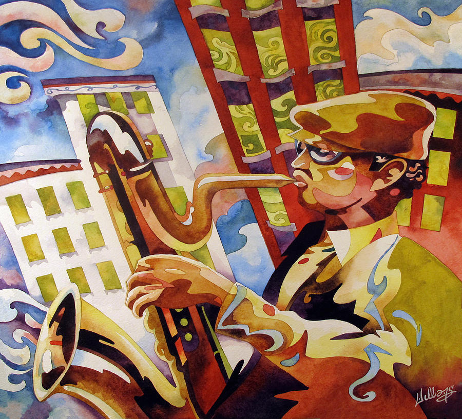 Watercolor Painting - Rooftop Baritone by Mick Williams