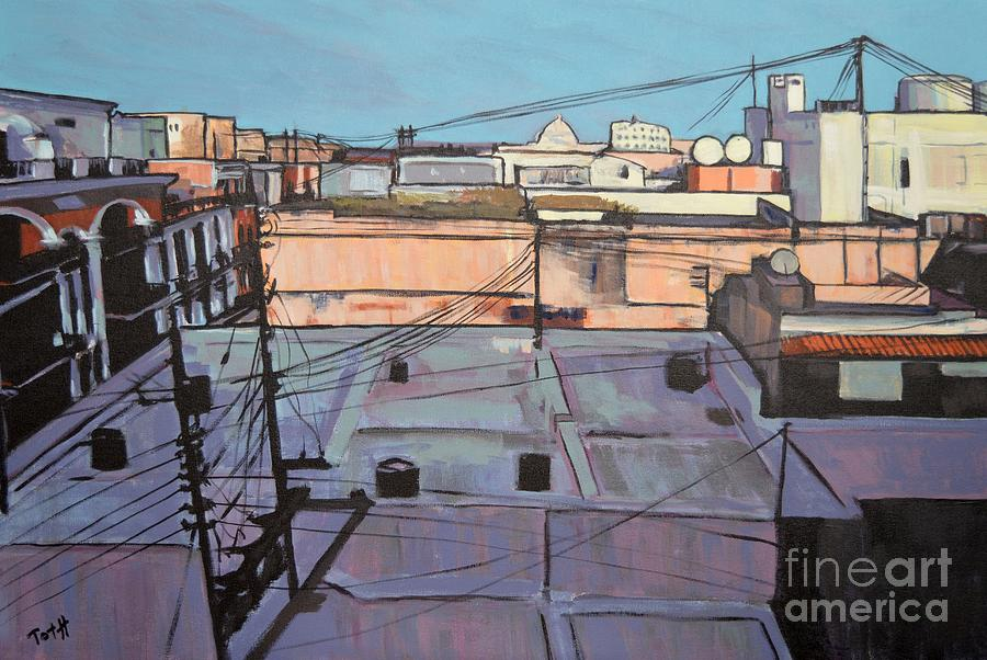 Rooftops Of Old San Juan Painting by Laura Toth