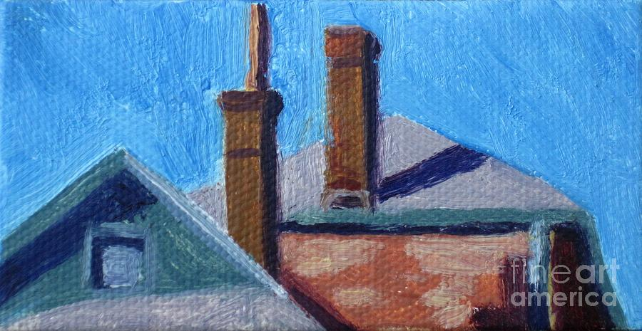 Urbanscape Painting - Rooftops On State by Katrina West