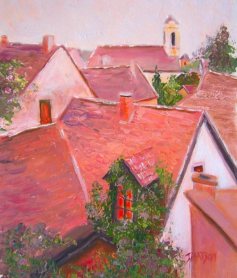 Croatia Painting - Rooftops Trogir Croatia by Jan Matson