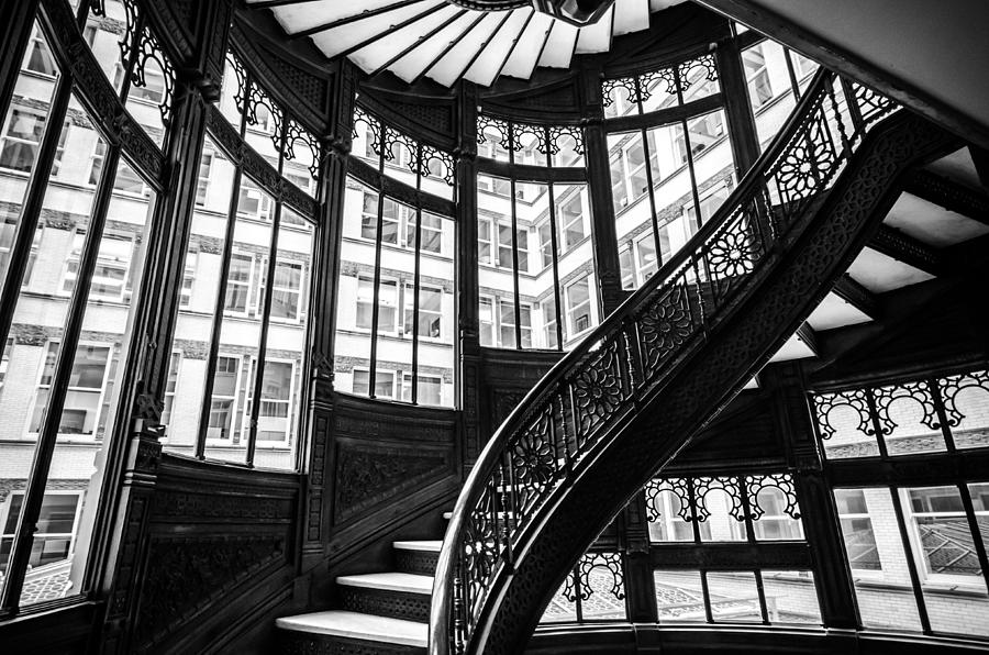 rookery building winding staircase and windows black and white photograph by anthony doudt. Black Bedroom Furniture Sets. Home Design Ideas