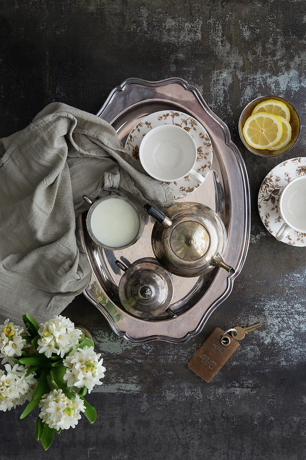 Room Service, Tea Tray With Milk And Photograph by Pam Mclean