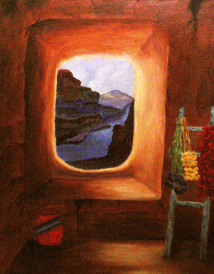 Old Adobe House Painting - Room With A View by Janis  Tafoya