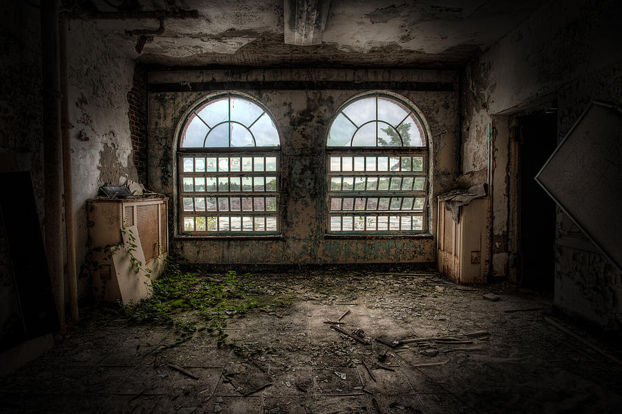 Abandoned Photograph - Room With Two Arched Windows by Gary Heller