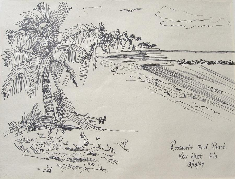 Key West Painting - Roosevelt Blvd Beach  Key West Fla by Diane Pape