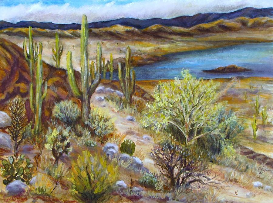 Arizona Painting - Roosevelt Lake by Caroline Owen-Doar