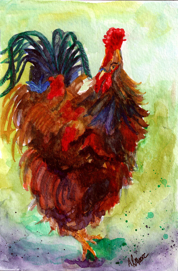 Chicken Painting - Roosta  by Anderson R Moore