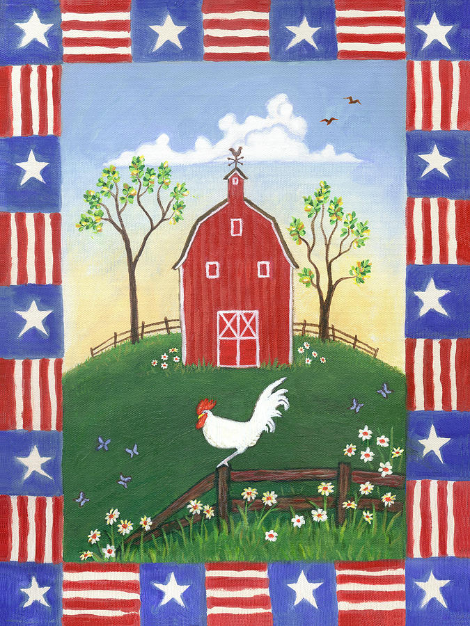 Folk Art Rooster Painting - Rooster Americana by Linda Mears