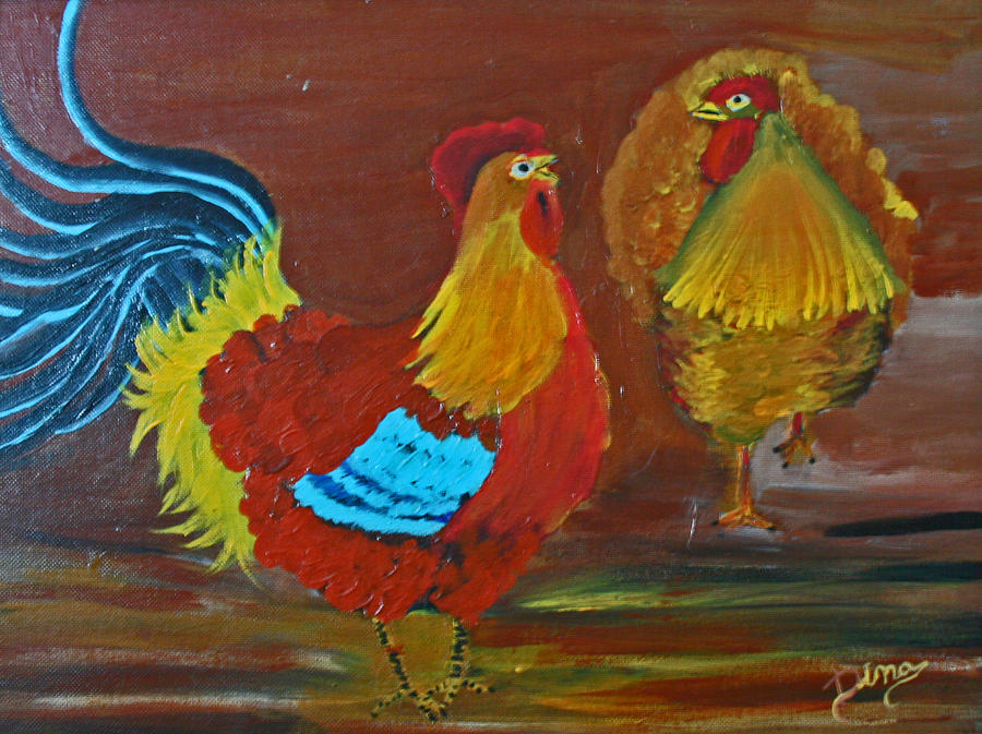 Farm Animal Painting - Rooster And Hen by Dina Jacobs