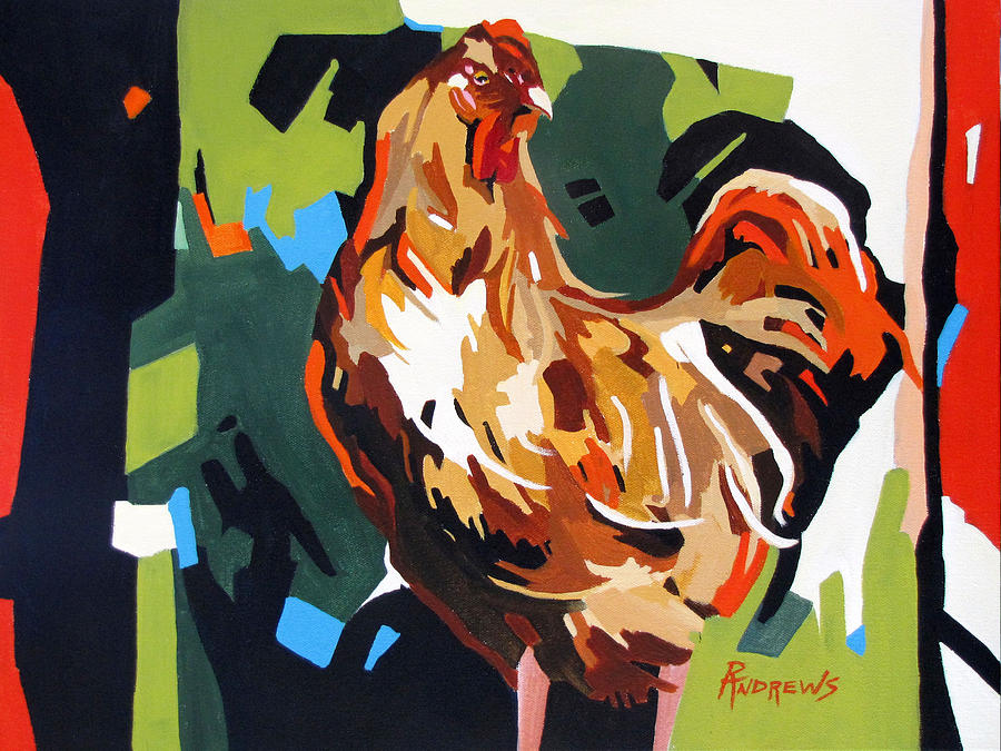 Rooster Painting - Rooster Design In Acrylic by Rae Andrews