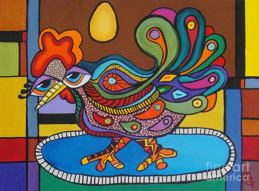 Rooster Painting - Rooster On A Platter by Deborah Glasgow